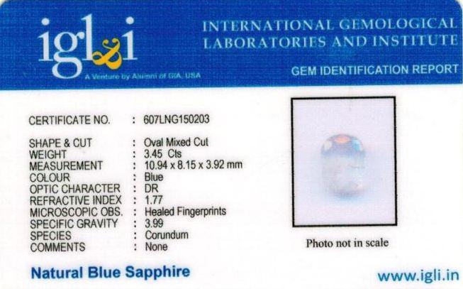 3.83-ratti-certified-blue-sapphire-gemstone Certificate (ID-327)
