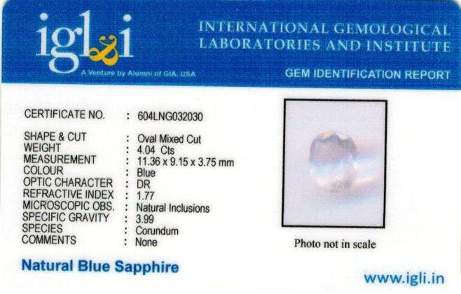 4.5 Ratti Certified Blue Sapphire Gemstone Certificate (ID-208)
