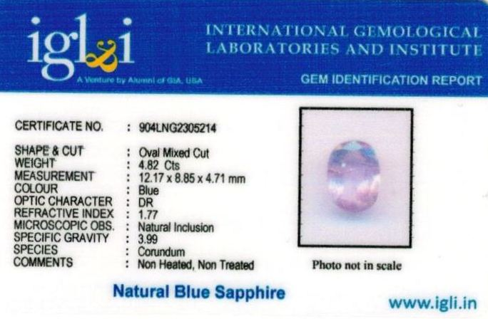 5.25-ratti-certified-srilankan-blue-sapphire Certificate (ID-409)