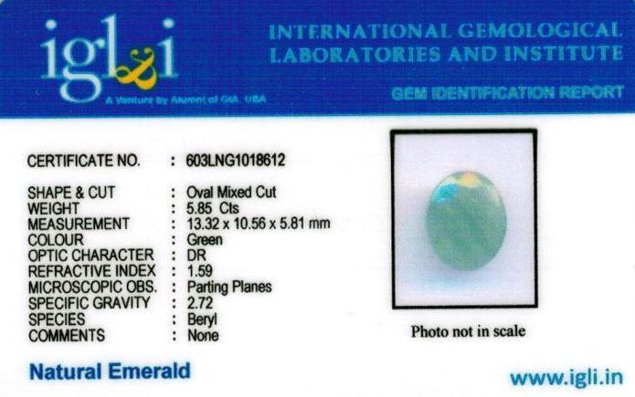 6.25-ratti-certified-emerald-gemstone Certificate (ID-354)