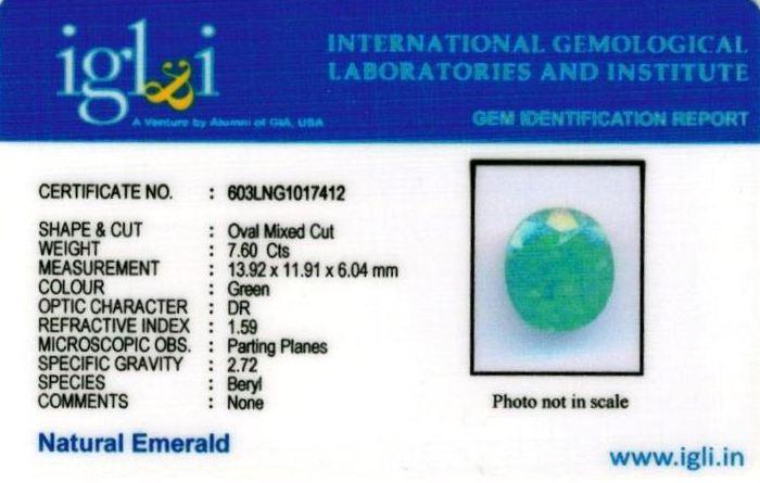 8.25-ratti-certified-emerald-gemstone Certificate (ID-357)