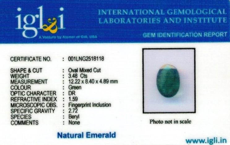 3.8 Ratti Certified Emerald Gemstone Certificate (ID-104)