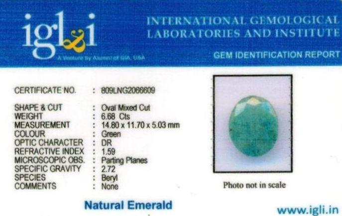 7.25-ratti-certified-emerald Certificate (ID-391)