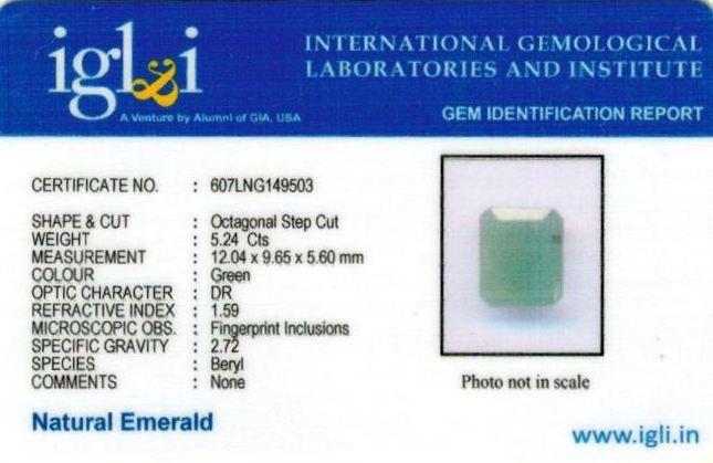 5.82-ratti-certified-emerald-gemstone Certificate (ID-327)