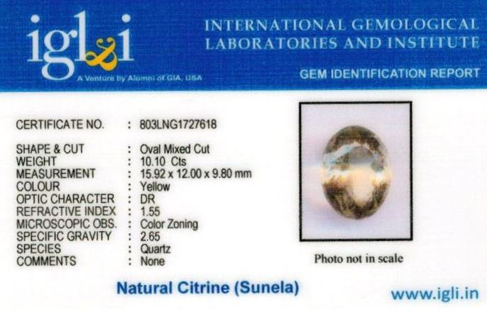 11.25-ratti-certified-citrine-sunela-Stone Certificate (ID-107)