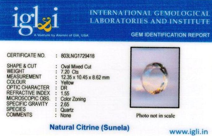 8.25-ratti-certified-citrine-sunela-Stone Certificate (ID-127)
