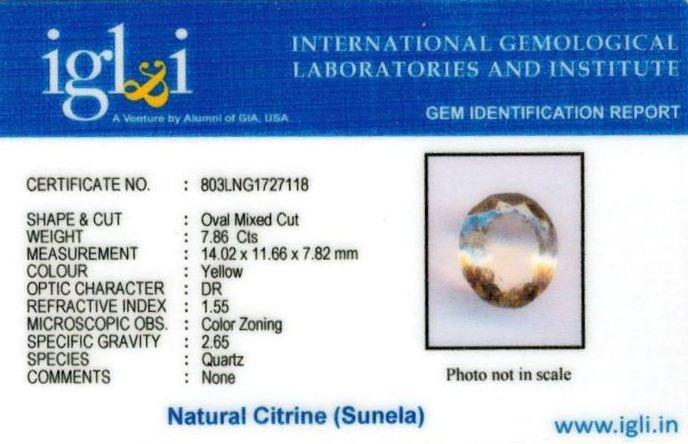 9-ratti-certified-citrine-sunela-Stone Certificate (ID-133)