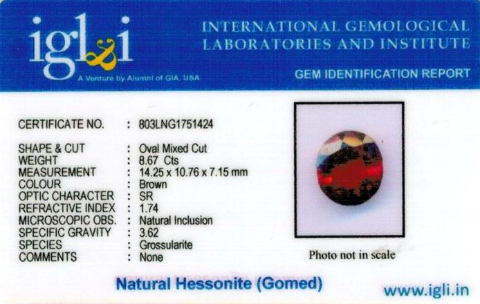 10-ratti-certified-hessonite-gomed-stone Certificate (ID-184)