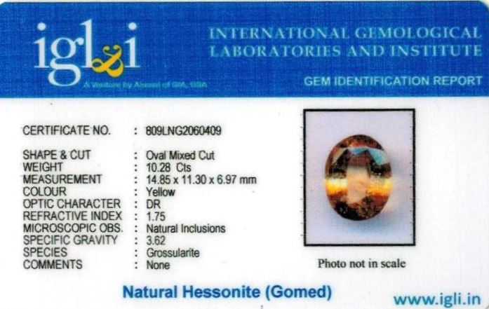 11.25-ratti-certified-yellow-hessonite-gomed Certificate (ID-263)