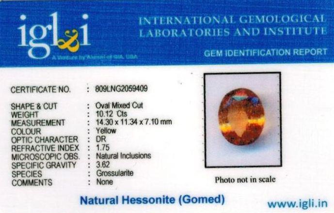 11.25-ratti-certified-yellow-hessonite-gomed Certificate (ID-262)