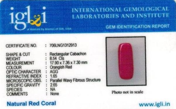 9.49-ratti-certified-red-coral-stone Certificate (ID-269)