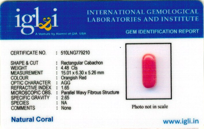 4.98-ratti-certified-red-coral-gemstone Certificate (ID-214)