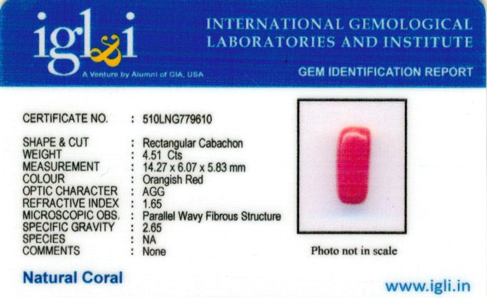 5.01-ratti-certified-red-coral-gemstone Certificate (ID-215)