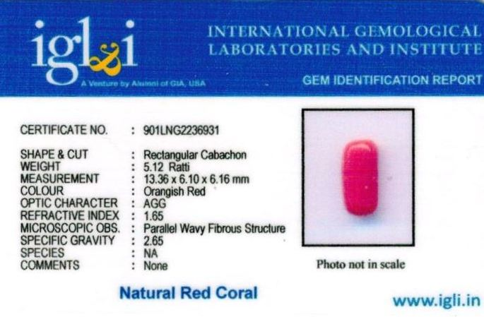 5.25-ratti-certified-red-coral Certificate (ID-311)