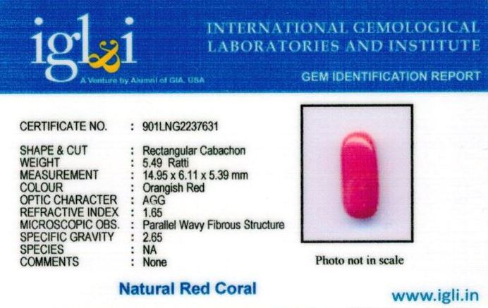 5.25-ratti-certified-red-coral Certificate (ID-319)
