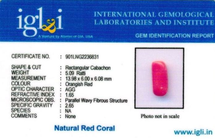 5.25-ratti-certified-red-coral Certificate (ID-310)