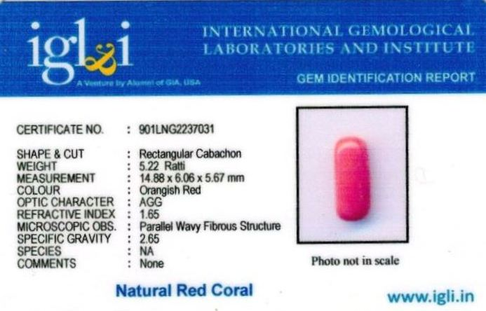 5.25-ratti-certified-red-coral Certificate (ID-314)