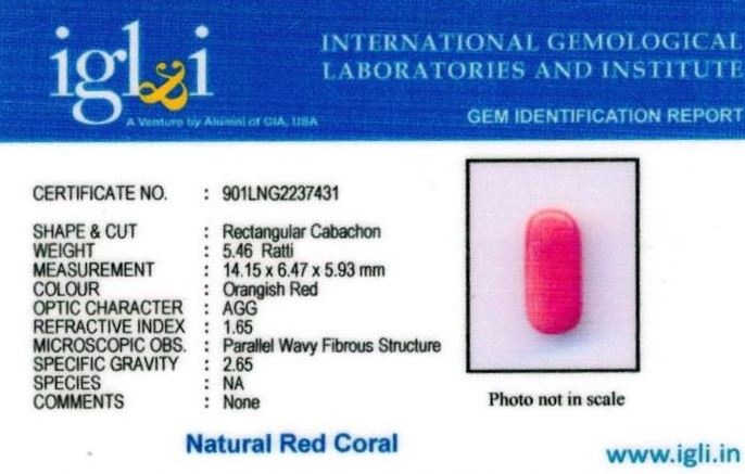 5.25-ratti-certified-red-coral Certificate (ID-318)