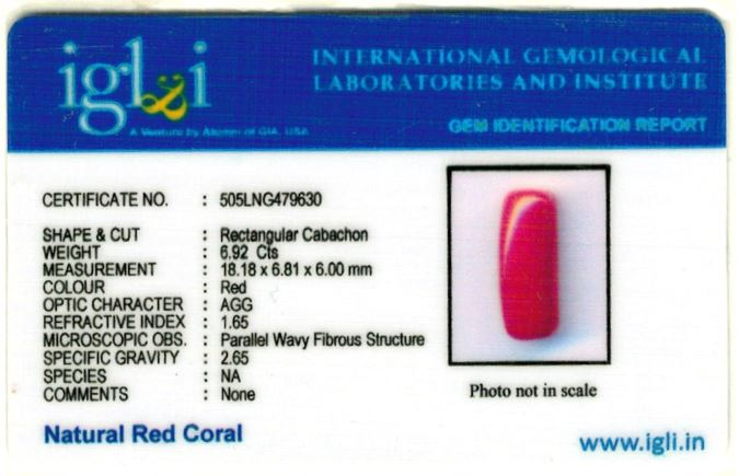 7.69-ratti-certified-red-coral-gemstone Certificate (ID-223)