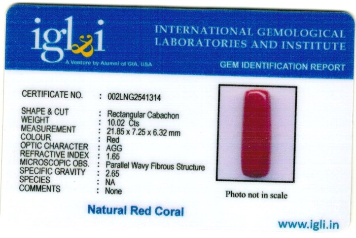11.25-ratti-certified-red-coral Certificate (ID-332)