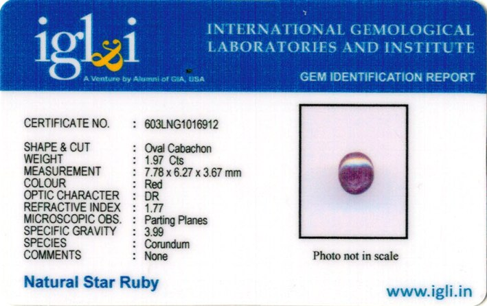 2.22-ratti-certified-star ruby-stone Certificate (ID-107)
