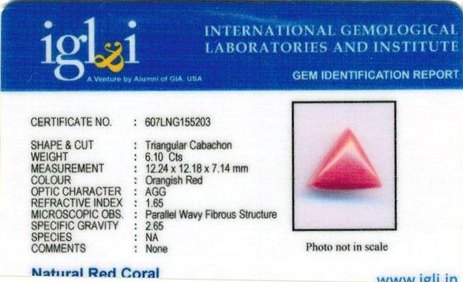 6.78-ratti-certified-triangular-red-coral-gemstone Certificate (ID-109)