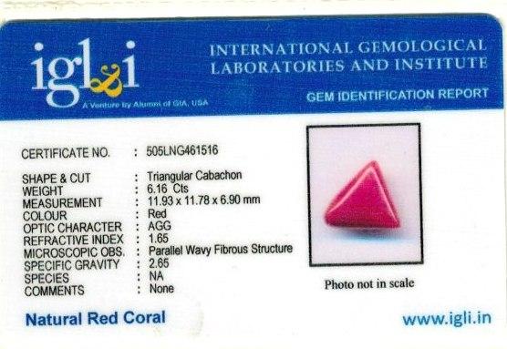 6.84-ratti-certified-triangular-red-coral-gemstone Certificate (ID-105)