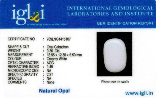 10.25-ratti-certified-whiteopal-stone Certificate (ID-145)